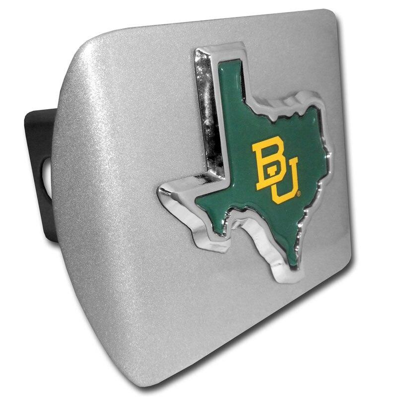 Baylor University Green State Shape Brushed Chrome Hitch Cover