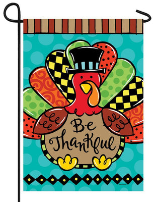 Be Thankful Whimsical Turkey Garden Flag