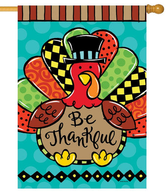 Be Thankful Whimsical Turkey House Flag