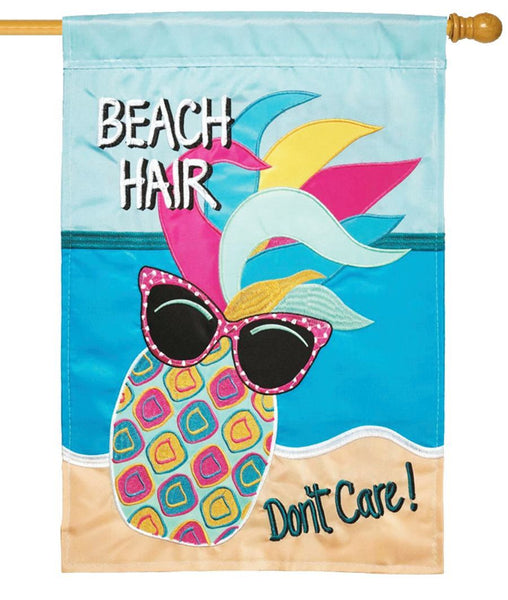 Beach Hair Pineapple Double Applique House Flag