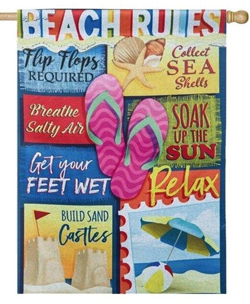 Beach Rules Suede Reflections House Flag - All Decorative Flags/Themes/Coastal Nautical Beach Flags - I AmEricas Flags