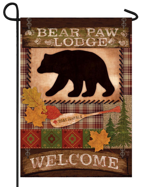 Bear Paw Lodge Welcome Garden Flag - All Decorative Flags/Seasons/Fall Flags - I AmEricas Flags