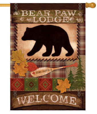 Bear Paw Lodge Welcome House Flag