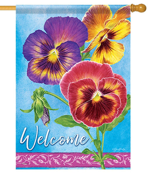 Beautiful Pansies House Flag
