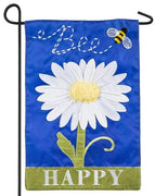 Bee Happy Daisy Applique Garden Flag