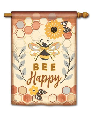 Bee Happy House Flag
