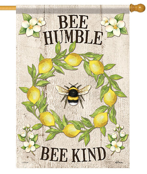 Bee Humble Lemon Wreath House Flag
