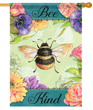 Bee Kind Bumble Bee House Flag