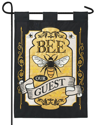 Bee Our Guest Double Applique Garden Flag