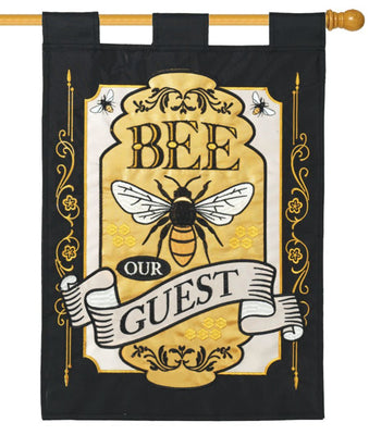 Bee Our Guest Double Applique House Flag