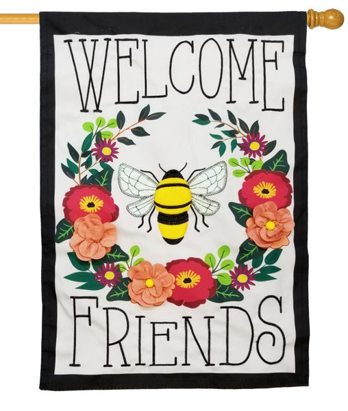 Bee Welcome Friends Applique House Flag