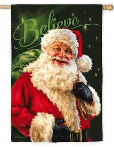 Believe in Santa Claus Suede Reflections House Flag