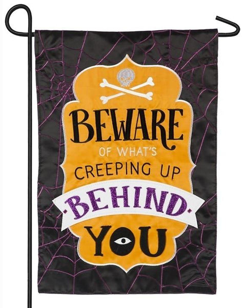 Beware of What's Creeping Up Applique Garden Flag - All Decorative Flags/Holidays/Halloween Flags - I AmEricas Flags