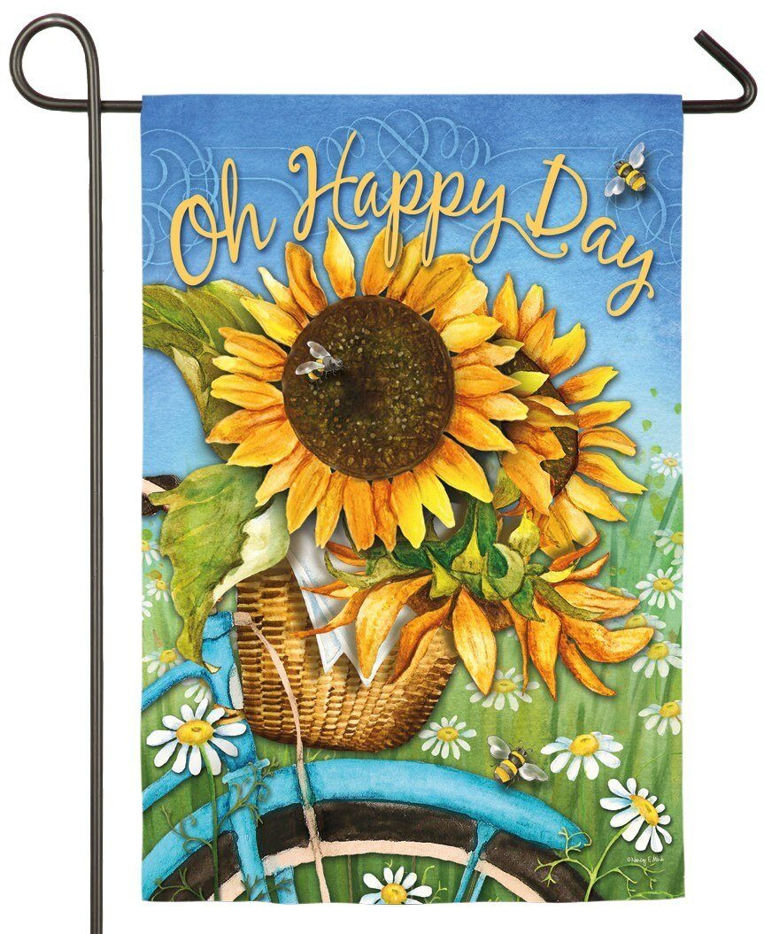 Bicycle Happy Day Sunflowers Glitter Suede Garden Flag