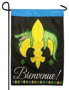 Bienvenue  Alligator Fleur de Lis Double Applique Garden Flag