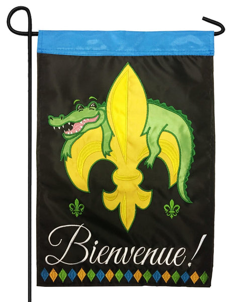 Bienvenue Alligator Fleur de Lis Double Applique Garden Flag - I AmEricas Flags