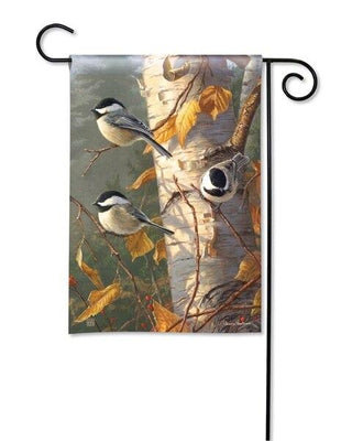 Birch Chickadee Trio Garden Flag