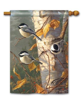 Birch Chickadee Trio House Flag