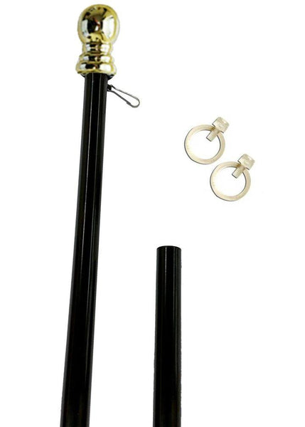 Black 6ft Spinning Aluminum Flagpole with Gold Ball - I AmEricas Flags