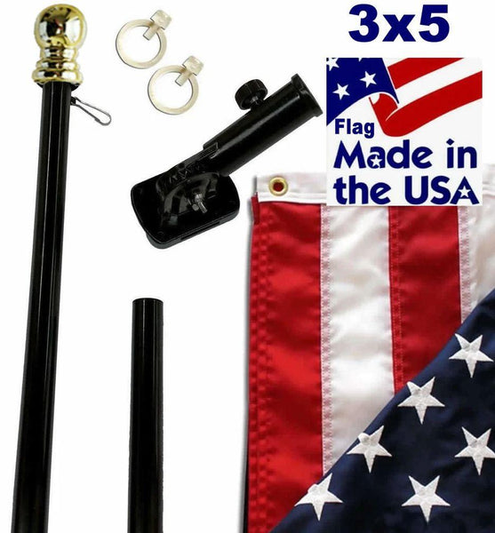 Black 6ft Spinning Pole and Flag Kit with Embroidered Stars Gold Ball
