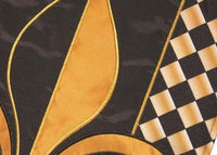 Black and Gold and Diamonds Fleur de Lis Double Applique Garden Flag Detail 1