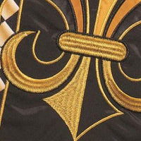 Black and Gold and Diamonds Fleur de Lis Double Applique Garden Flag Detail 2