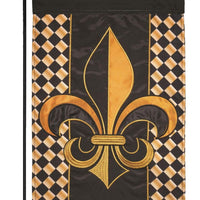 Black and Gold and Diamonds Fleur de Lis Double Applique Garden Flag