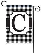 Black and White Check Monogram C Garden Flag