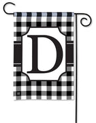 Black and White Check Monogram D Garden Flag