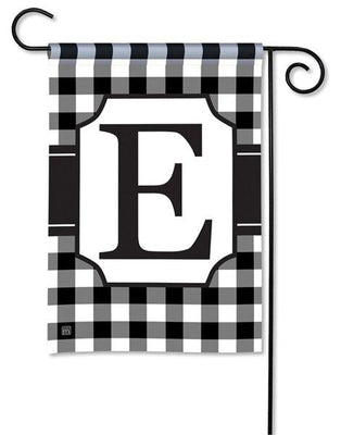 Black and White Check Monogram E Garden Flag