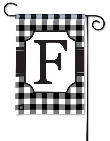 Black and White Check Monogram F Garden Flag