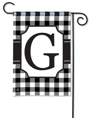 Black and White Check Monogram G Garden Flag
