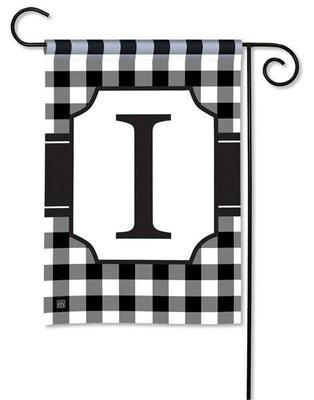 Black and White Check Monogram I Garden Flag
