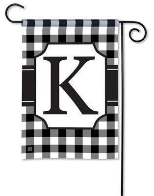 Black and White Check Monogram K Garden Flag