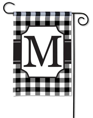 Black and White Check Monogram M Garden Flag