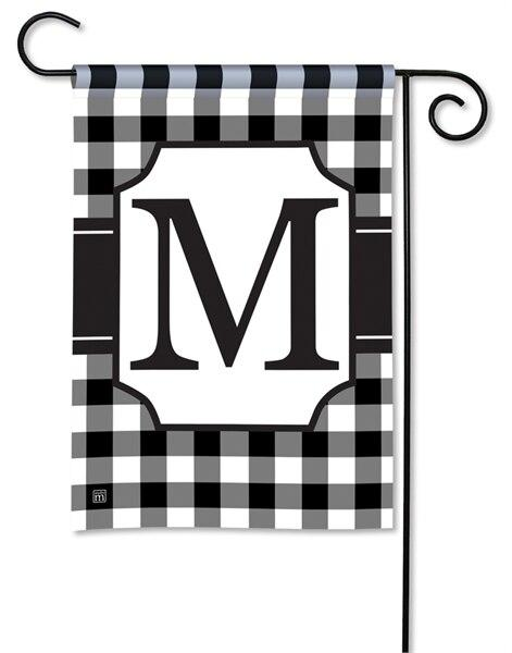 Black and White Check Monogram M Garden Flag - All Decorative Flags/Monogram Flags - I AmEricas Flags