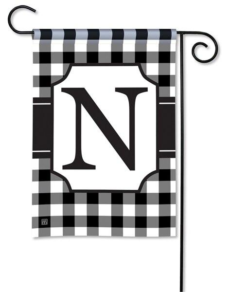 Black and White Check Monogram N Garden Flag