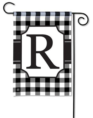 Black and White Check Monogram R Garden Flag