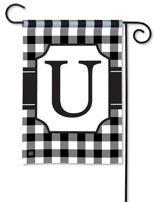 Black and White Check Monogram U Garden Flag