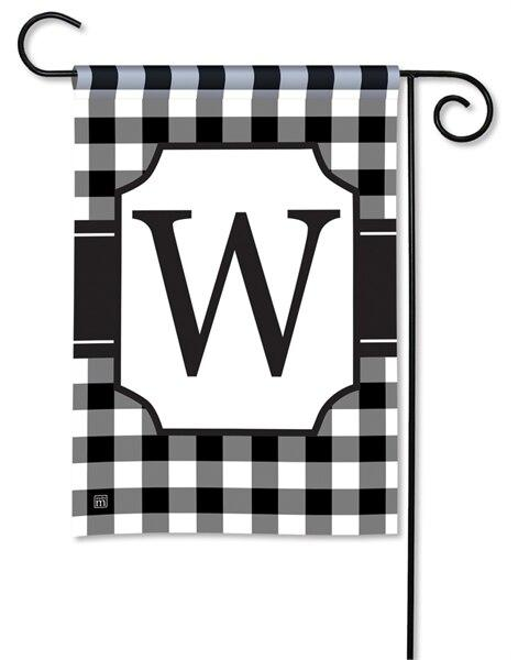 Black and White Check Monogram W Garden Flag
