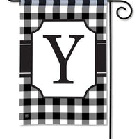 Black and White Check Monogram Y Garden Flag
