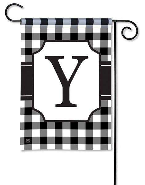 Black and White Check Monogram Y Garden Flag - All Decorative Flags/Monogram Flags - I AmEricas Flags