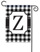Black and White Check Monogram Z Garden Flag
