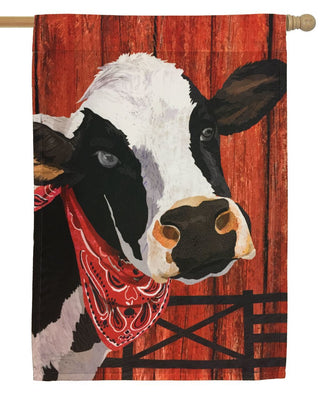Black and White Cow House Flag