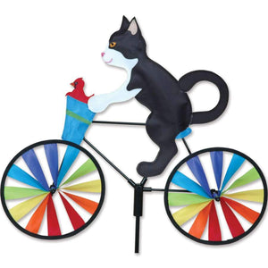 Black and White Tuxedo Cat Bicycle Wind Spinner