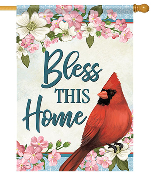 Bless This Home Cardinal House Flag - All Decorative Flags/Themes/Bird Flags/Cardinals - I AmEricas Flags