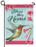 Bless This Home Hummingbird Garden Flag