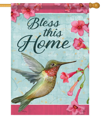 Bless This Home Hummingbird House Flag