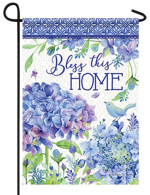 Bless This Home Hydrangea Garden Flag