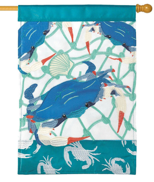 Blue Crab Double Applique House Flag